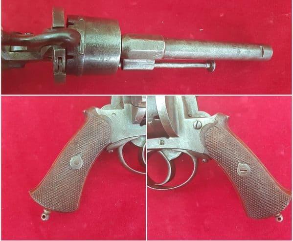 A Belgian 6 shot double action 10 mm antique pin-fire revolver. C. 1865. Ref 9421.